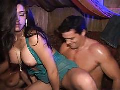 Slot gets all naked behind the sofa at a club