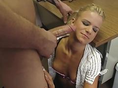 Hot ass waitress blows and fucks client