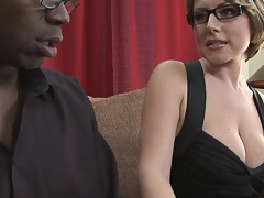 Milf is flirting with a man with a giant black cock