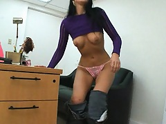 Joey Ray brings a little pussy dildo action on desk