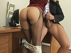 Hot blonde in glasses goes down to suck and titty fuck