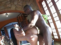 Standing fuck with latina Fabiane Thompson receiving fat black penis from behind