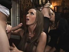 Nikki benz deep throats a huge dick