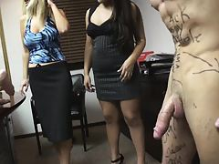 Poor office jerk forced to fuck office sluts