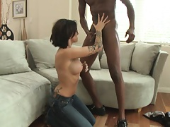 Milf takes off her jeans and spreads pussy for dude