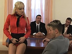 Business meeting got so boring that an orgy started
