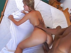 Doggy style shaved pussy Sarah Blue fuck with a close up
