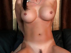 Reverse cowgirl style fucking and on her back on the sofa