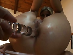 Anal sex toy for asian ass with close up fucking
