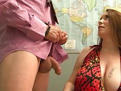 Big natural boobies Desiree Deluca handjob and biting cock head