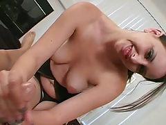 Handjob with lube from medium tits Ashley on home video