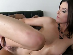 Trimmed pussy white milf India Summer inserting black cock into pussy