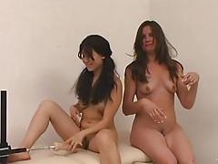 Sierra Lynn and Angelina Bonet sex toy machines fucking