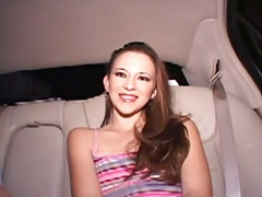 Backseat Anyssa pulls panties aide to get touched