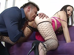 Eating out fishnet latina Paloma Vargas ass and pov blowjob
