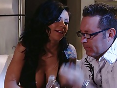 Brunette Mason Moore pulls mans cock from pants and sucks it right up