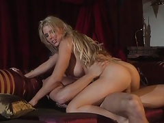 Cowgirl sex with sideways pussy spreading on the couch with blondie