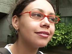 Teen Mayla in glasses picked up on campus