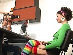 Office latina teen girl Maria Robles needs a job