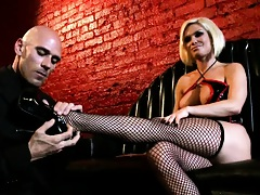 Hot blonde vampire slut with big tits and stockings
