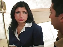 Latina Sativa maid in her uniform sucking mans penis