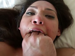 Shoving multiple fingerings into Eva Fenix mouth with pov shaved pussy sex
