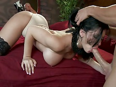 Big tits brunette Rebeca loves sailors