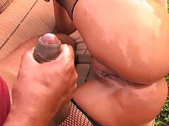 Latina chick Agatha Moreno with shaved pussy and oil on ass fuck outdoors