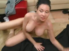 Big tits gets lotion on tits and titty fuck oh yea