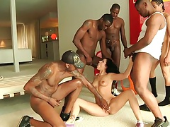 Tori Lux getting cock fucked in mouth from many cocks at once