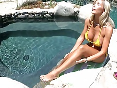 Outdoors by the pool with Evita Pozzi wearing sexy yellow bikini then shower