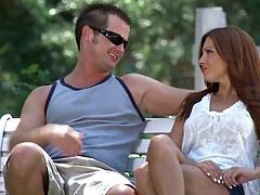 Redhead babe Krissy Lynn outdoors with a guy