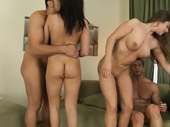 Euro sluts sit  on cock and moaning hard