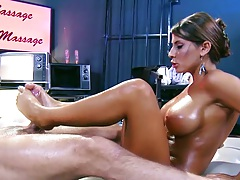 Oiled up Madison Ivy footjob with sexy feet and oil massage