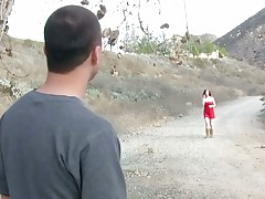 Redhead Mary Jane Mayhem talking a relaxing walk outdoors then sucks dick