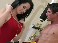 Lifeguard Jayden Jaymes in uniform attacking sinking cock