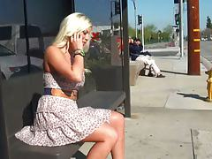 Britney amber gets violated in public on the bus stop