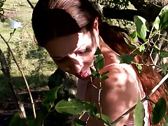 Outdoor undressing Nina under the trees