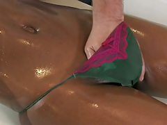 Fingering black girl Jasmine Webb with massage and blowjob