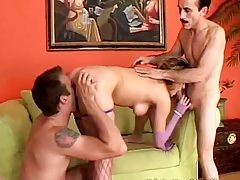 Petite natural boobs Nikki Nievez in threesome sucking and sex act