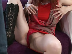 Pulled aside panties Jasmina W shows her hairy pussy and sucks it