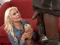 Cindy Crawford kneeling down for big black cock and front sex