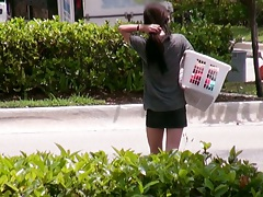 Calista Carmichael public chick pickup outdoors doing her laungry