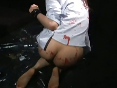 Asian bondage slut gets all angry and horny
