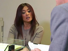 Asian sexy chick Kaylani Lei behind the office desk and horny