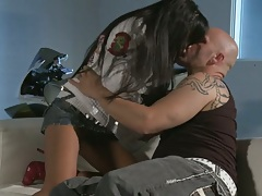 Asian Kaylani Lei making out and gets deep fingered with sucking cock
