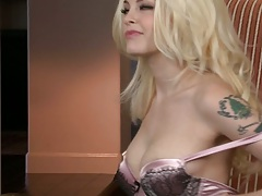Blonde medium tits Bree Daniels taking off lingerie exposing natural tits