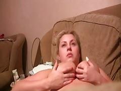 Big natural tits milf Ninnka in home video blowjob