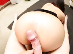 Big dick pov doggy style with cock sucking dick from Melina Mason