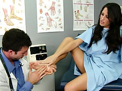 Kortney goes for a foot exam and doesnt wear panties